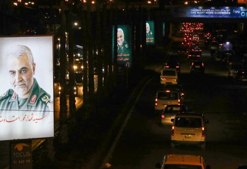 صورة لـ قاسم سليماني وضعها حزب الله في الضاحية الجنوبية لمدينة بيروت