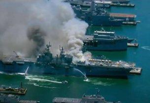 حريق بالسفينة الحربية بونهوم ريتشارد