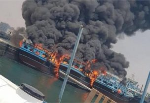 حريق بميناء بوشهر جنوب إيران