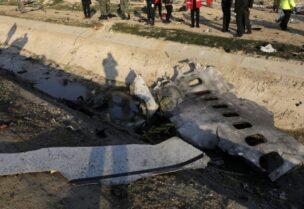 حطام الطائرة الأوكرانية التي أسقطها الحرس الثوري الإيراني