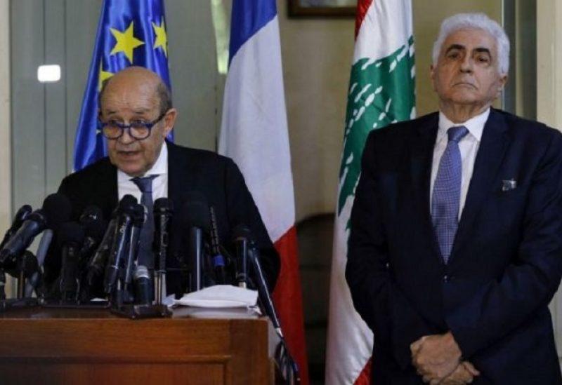 ناصيف حتي مع وزير الخارجية الفرنسي