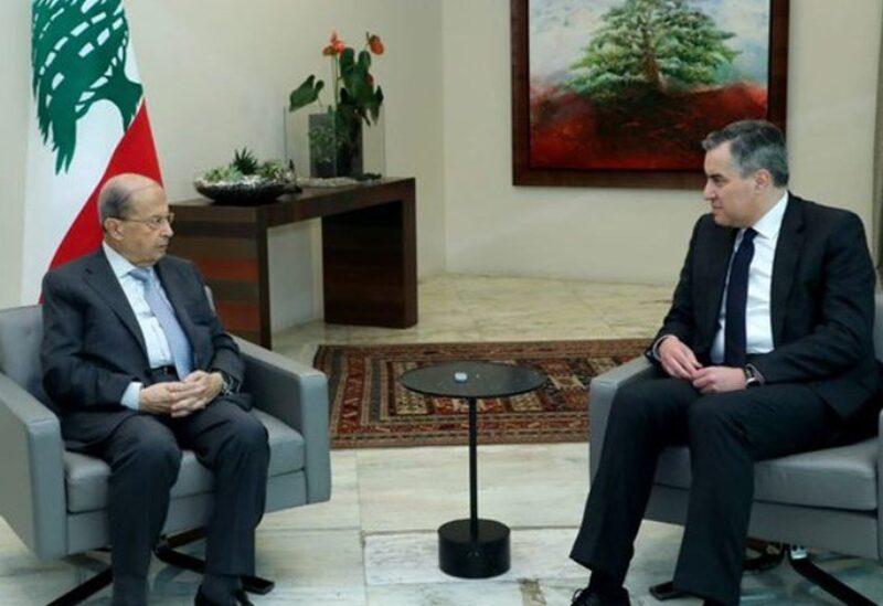 الرئيس المكلف مصطفى أديب مع الرئيس عون