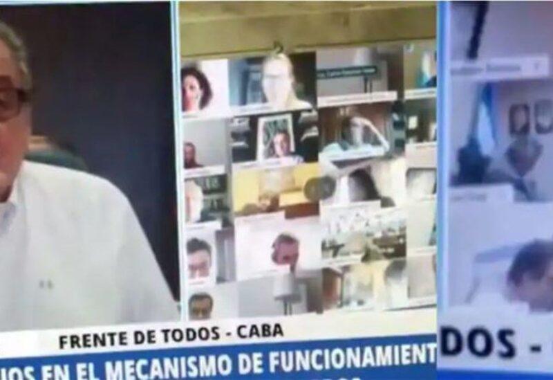 نائب أرجنتيني يقبّل صدر زوجته خلال جلسة برلمانية إفتراضية
