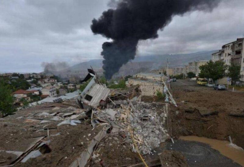 أثار القصف في إقليم ناغورني كراباخ - أرشيفية
