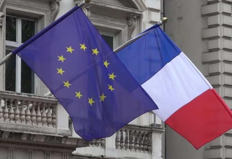 علم فرنسا والاتحاد الأوروبي