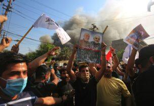 إحراق مقر حزب برزاني في بغداد