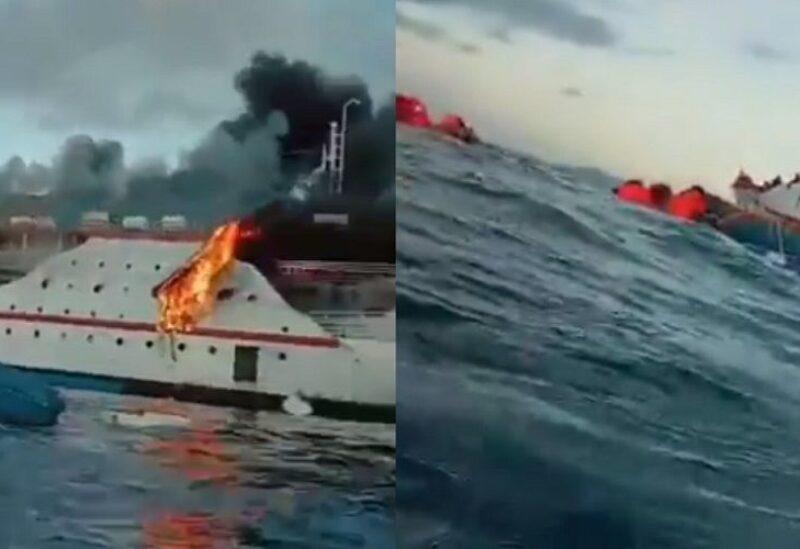 النيران تلتهم سفينة اندونيسية مكتظة بالركاب